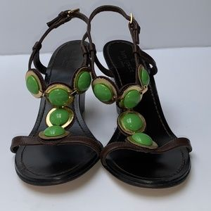 Kate Spade Dark Brown Sandals with Green Stones
